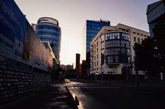 Dawn in de stad Royalty-vrije Stock Afbeelding
