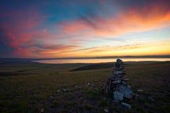 Dawn in de steppen van Khakassia Stock Afbeelding