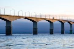 Dawn door de brug Royalty-vrije Stock Afbeeldingen