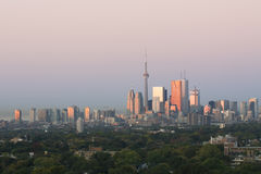 Dawn in Downtown Toronto. First light shines on Toronto Royalty Free Stock Photography