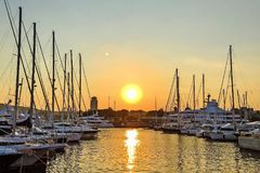 Dawn, Dusk, Harbour Royalty Free Stock Photography