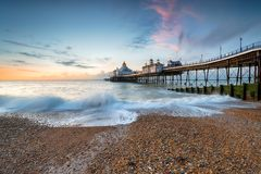 Dawn at Eastbourne Pier. In  East Sussex on the south coast of England Stock Photography