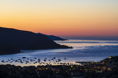 The dawn on the Elba island (Tuscany, Italy). The colors of dawn on the town of Marina di Campo (Elba Island, Italy Royalty Free Stock Photos