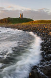 Dawn embleton bay with castle Royalty Free Stock Images