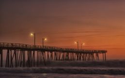 Dawn on the fishing pier Stock Photo