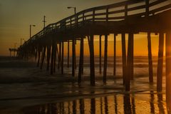 Dawn on the fishing pier Royalty Free Stock Photos
