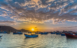 Dawn on the fishing port in Ninh Thuan Royalty Free Stock Photography