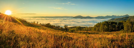 Dawn fog panorama in the Wasatch Mountains. Stock Photography
