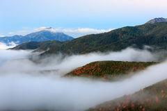 Dawn fog in the Wasatch Mountains. Stock Photos