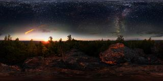 Dawn in the forest under the starry sky a milky way. 360 vr degree spherical panorama.  stock photos