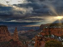 Dawn in Grand Valley and Monument Canyon stock photography
