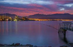 Before dawn at the gulf of Eilat. Eilat is a famous resort and recreation city in Israel Stock Photos