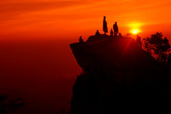 Dawn of Happiness. Sunrise at Vishnu cliff Ramkhamhaeng National Park, Sukhothai,Thailand Royalty Free Stock Photo