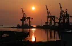 Dawn in het uitwisselen van haven Stock Foto's