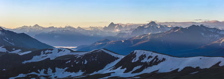 Dawn high in mountain. Caucasus Mountains. Stock Images