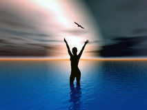 Dawn of hope. Woman rising her hands to heaven, expressing her strong feelings Stock Photos