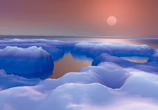 DAWN IN THE ICE. Digital design 3D rendered with Photographic realism, Post Producci�n (retouch, ended, adjustments of colors and contrasts) using Edition royalty free illustration