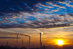Dawn in industrial zone Royalty Free Stock Image