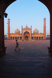 Dawn Jama Masjid Main Mosque Δελχί που πλαισιώνεται Στοκ Εικόνα