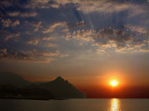 Dawn on Karadag. Ukraine. Crimea. Karadag. A dawn. The quiet sea. All people while sleep royalty free stock photography