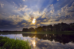 Dawn at the lake. Beautiful sunrise on the lake in summer Stock Photos