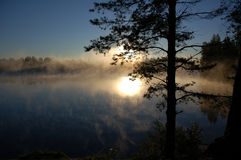 DAWN ON LAKE Royalty Free Stock Image