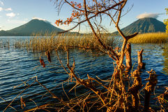 Dawn on Lake Atitlan & 2 volcanos, Guatemala Stock Photo