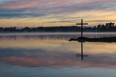 Dawn Lake Cross Stock Photo