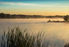 Dawn on the lake stock photography