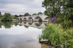Dawn landscape Chertsey Bridge over River Thames in London Royalty Free Stock Images