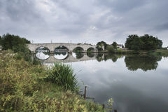Dawn landscape Chertsey Bridge over River Thames in London Royalty Free Stock Image