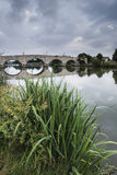 Dawn landscape Chertsey Bridge over River Thames in London Stock Photography
