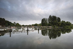 Dawn landscape Chertsey Lock and weir over River Thames in Londo Royalty Free Stock Images