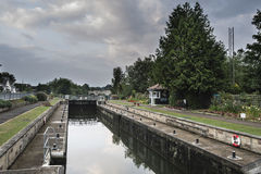 Dawn landscape Chertsey Lock and weir over River Thames in Londo Stock Image