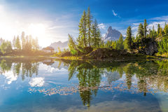 Dawn landscape of the Italian Dolomites Royalty Free Stock Image
