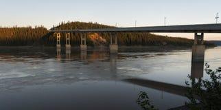 Dawn at Yukon River Crossing bridge royalty free stock photos