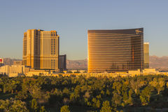 Dawn Light on Palazzo and Wynn Resorts in Las Vegas Stock Photography