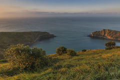 Dawn at Lulworth Cove. Landscape view of Lulworth Cove, Dorset, southwest Englnad Stock Photos