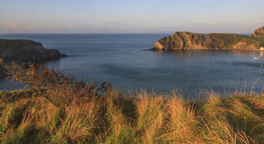 Dawn at Lulworth Cove. Panorama view of Lulworth Cove, Dorset, southwest Englnad Stock Image