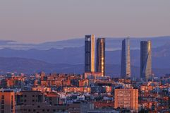 Dawn in Madrid. Dawn in Madrid with the skyscrapers in the background Stock Images