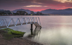 Before dawn at the main beach of Eilat Stock Photo