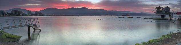 Before dawn at the main beach of Eilat Stock Photography