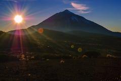 Dawn. Majestic sunset over the volcanic island Tenerife Stock Photos