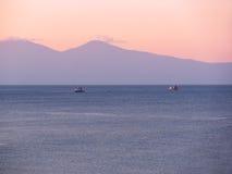 Dawn at Mediterranean Sea Stock Image