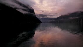 Dawn. Milford Sound NZ Stock Images