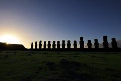 Dawn among the mohais in Chile Stock Photos