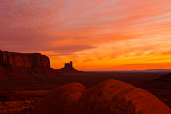 Dawn at Monument Valley. Dramatic sunrise at Monument Valley Tribal Park, Arizona Stock Images