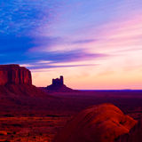 Dawn at Monument Valley. Dramatic sunrise at Monument Valley Tribal Park, Arizona Stock Photos