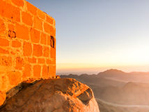 Dawn at Mount Sinai. Wall at sunrise Stock Photos