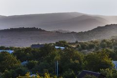 Dawn in the mountain area Stock Photo